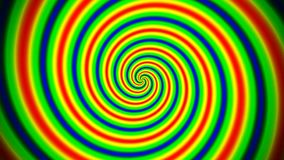 Animated abstract illustration of bright colorful spirals rotating on white background. Colorful animation, stock video footage