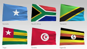 Animated African flags collection with alpha channel, Somalia, South Africa, Tanzania, Togo, Tunisia, Uganda.  stock video footage