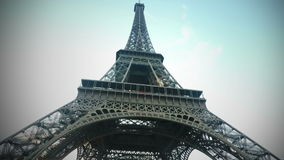 Animated Airplane Flying Behind Eiffel Tower stock footage