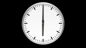 Animated analog clock, time lapse, on black background