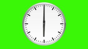 Animated analog clock, time lapse, on green screen stock illustration