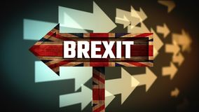 Animated arrows Video. British Brexit flag against animated arrows background stock footage