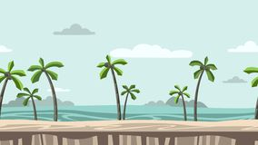 Animated background. Beach with palm trees and rocks on horizon. Moving seaside view. Flat animation, parallax. Footage.