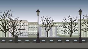 Animated background. European city street with buildings, trees and lampposts. Flat animation, parallax. Footage.
