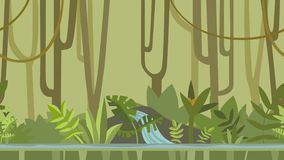 Animated background. Green jungle forest with river. Flat animation, parallax. Footage.