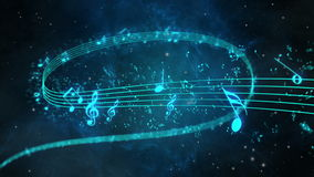 Animated background with musical notes, Music notes flowing - dof Stock Photo