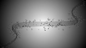 Animated background with musical notes, Music notes flowing Stock Photography