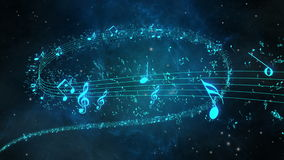 Animated background with musical notes, Music notes flowing