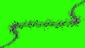 Animated background with musical notes, Music notes flowing Stock Images