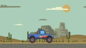 Animated big wheel monster truck riding through canyon desert. Moving bigfoot truck on mountain desert background. Flat