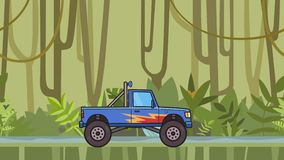 Animated big wheel monster truck riding through rainforest. Moving bigfoot truck on jungle and river background. Flat. Animation stock video