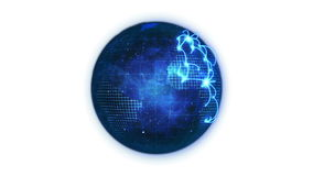 Animated blue planet globe with network
