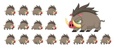 Animated Boar Character Sprites