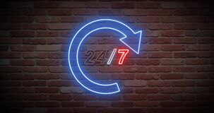 Animated bright neon nonstop open service text on wall. Animation, motion graphics, design