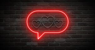 Animated bright pink neon speech bubble with hearts on wall. Animation, motion graphics, design