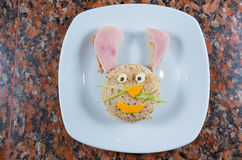 Animated bunny plate Royalty Free Stock Photography