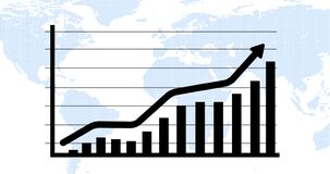 Animated business growth growing arrow. Growing business success with arrow. 4k video.