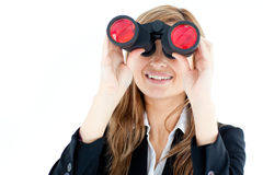 Animated businesswoman looking through binoculars Royalty Free Stock Photo