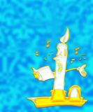 Animated candle singing. Illustration of an animated candle in a gold candlestick holder singing from a song sheet on a blue background royalty free illustration