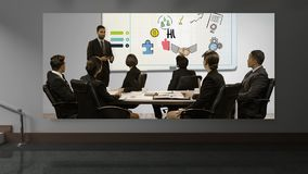 CanvasVideo. Animated Canvas against brick wall background showing business meeting stock video footage