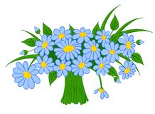 Animated cartoon bouquet of daisies Stock Photos