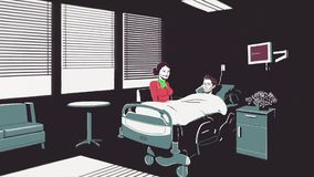 Animated cartoon with a dying man lying on a bed in the hospital and a woman sitting beside. Stop of heart beating of a. Young man on the EKG monitor in royalty free illustration