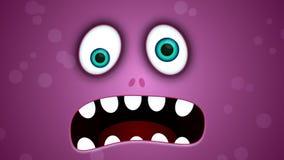 Animated cartoon monster face footage stock footage