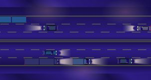 Animated cartoon of traffic speeding on the road at night. stock footage