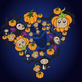 Animated characters of the autumn holiday Halloween. Characters are in the form of a ghost stock illustration