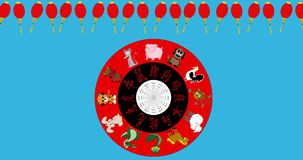 Animated Chinese New Year Wheel spinning with red lantern border , chroma key stock footage