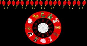 Animated Chinese New Year Wheel spinning on black with red lantern border stock video footage