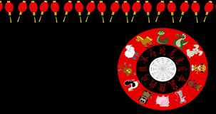 Animated Chinese New Year Wheel spinning on black with red lantern border and copy space stock video footage