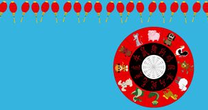 Animated Chinese New Year Wheel spinning with red lantern border with copy space, chroma key stock video footage