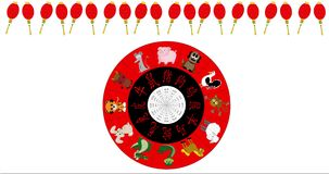 Animated Chinese New Year Wheel spinning with red lantern border, white background stock footage