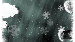 Animated Christmas Art Titles Background with Trees and Snowman stock footage