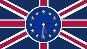 Animated clock counting down. Brexit UK EU referendum concept