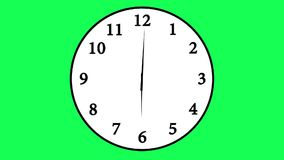 Animated clock counting down 12 hours over 30 seconds. Time lapse footage of a simple, traditional office wall clock with white clock face over a 12-hour period stock illustration