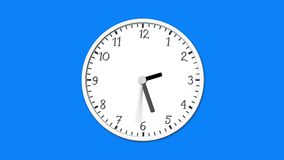 Animated clock time lapse. Animated clock face counting down. Digital animation of white clock ticking on blue background royalty free illustration