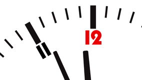Animated clock. Last seconds to 12 o'clock stock video footage