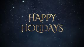 Animated close up Happy Holidays text, white snowflakes on blue background vector illustration