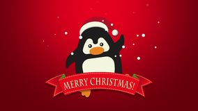 Animated close up Merry Christmas text, funny penguin waving on red background royalty free illustration