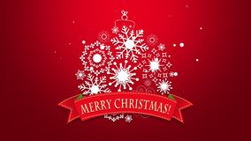 Animated close up Merry Christmas text, white snowflakes on red background stock footage