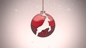 Animated close up white snowflakes and red balls on dark background vector illustration