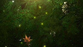 Animated closeup balls and green tree branches on shiny background. Luxury and elegant dynamic style template for winter holiday stock footage