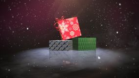 Animated closeup Christmas gift boxes on snow and shine background royalty free illustration