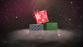 Animated closeup Christmas gift boxes on snow and shine background stock illustration