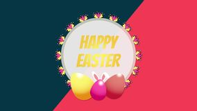 Animated closeup Happy Easter text and eggs on blue and red vertigo background vector illustration