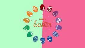 Animated closeup Happy Easter text and eggs on green and red vertigo background royalty free illustration