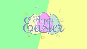 Animated closeup Happy Easter text and eggs on green and yellow vertigo background vector illustration