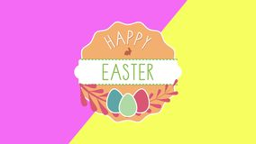 Animated closeup Happy Easter text and eggs on pink and yellow vertigo background stock illustration